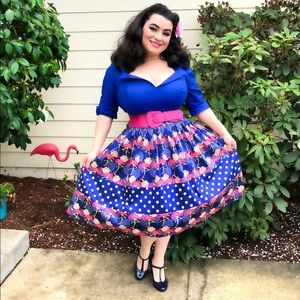 Lady Vintage Flamingo Polkadot Swing Skirt NWT
